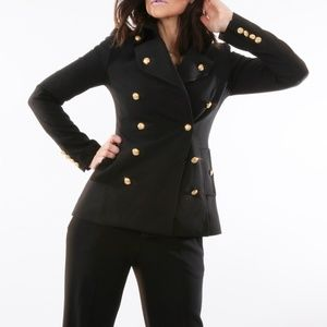 INTERMIX Black Double Breasted Blazer Jacket